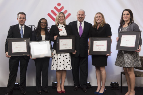 Mark Wallace is flanked by the 2017 Catalyst Leadership Award recipients, including, from left: Dan Christopher, Dr. Judith Campbell, Ashley Simms, Amanda Austin Ward (Catalyst Leader of the Year) and Mari Trace.